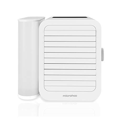 🥇 Microhoo Aire Acondicionado Personal Mini Refrigerador de Aire Humidificador Evaporativo Purificador 99 Velocidades Ventilador Eléctrico Portátil de Escritorio