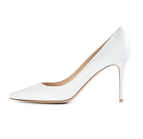 Soiree Chaussures Femme Bout Hauts Talons Classique Edefs White Pointu Escarpins Fermé Bureau À wF5PE