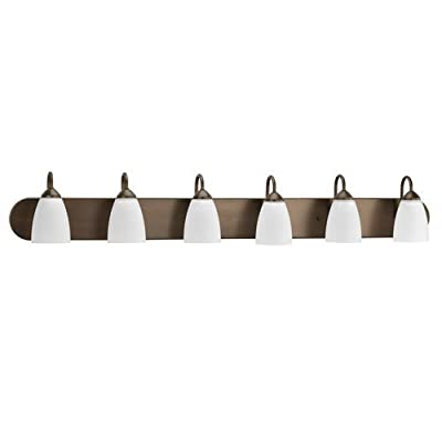 Progress Lighting P2714 Gather 6 Light Bathroom Vanity Light with Etched Glass S,