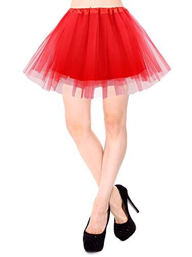 Simplicity Red Tutu Classic 4 Layered Satin Lined Ballerina Tutu Skirt, Red