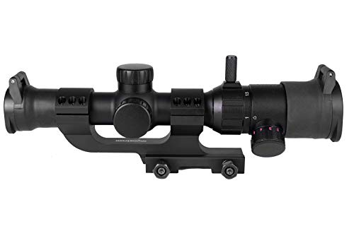 Monstrum 1-4x20 Rifle Scope with Offset Cantilever Scope Mount and Flip Up Lens Covers | Black