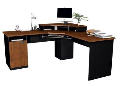 (Bestar 69430 Corner L Shaped Computer Desk Tuscany Brown Black by Bestar)