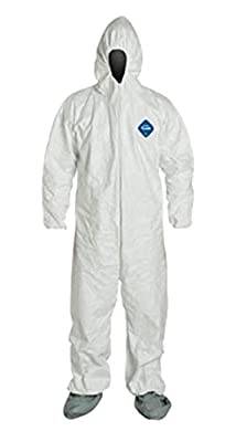 2XL Tyvek Coverall W/ Hood, Zipper, Elastic Wrist & Ankle, With Attached Booties (2XL-5 Suits) TY122S WH - 2X