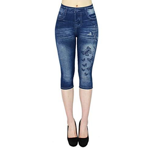 TIFENNY Cropped Jeans for Women Jean-Like Hollow-Out Printed High-Waist Elastic Seven-Cent Pants Casual Trousers Blue