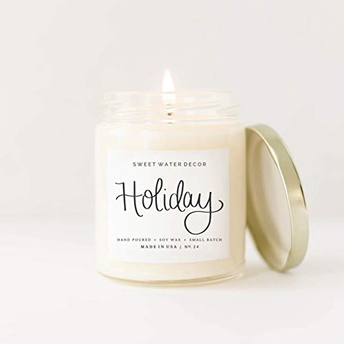 Holiday Natural Soy Wax Candle   Citrus Cloves Pine Cones Oakmoss Sandalwood Christmas Scented Winter Candle Made in USA Lead Free Cotton Wick Farmhouse Home Decor Bathroom Accessories Gift For Her ()