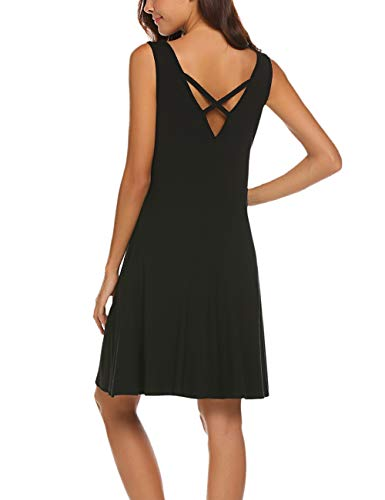 (LuckyMore Women's Sleeveless Casual Loose Tank Summer Dress Black XL)