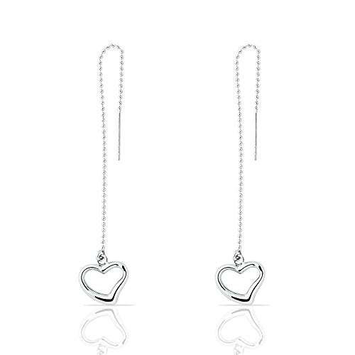 Earring Dangle 14k Heart Gold - Adorable 14K White Gold Dangle Drop Threader Open Heart Earrings for Women and Girls