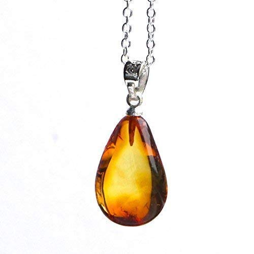Baltic Amber Teardrop Pendant Sterling Silver 925 18 inch Chain Necklace