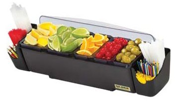 San Jamar BD4023S 9 Piece The Dome Garnish Center, 4.5qt Capacity, 22'' Length x 7-1/2'' Width x 8-1/2'' Height by San Jamar