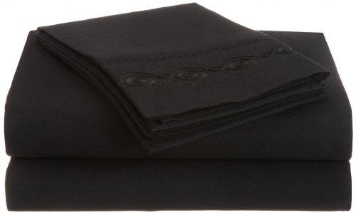Clara Clark Premier 1800 Chain Design 4pc Bed Sheet Set - Full (Double) Size, Black