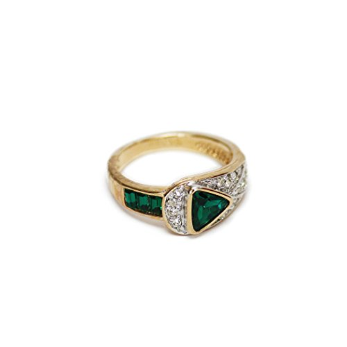 Providence Vintage Jewelry Pave Trillion Cut Emerald and Clear Swarovski Crystals 18k Gold Electroplated 18k Gold Electroplated
