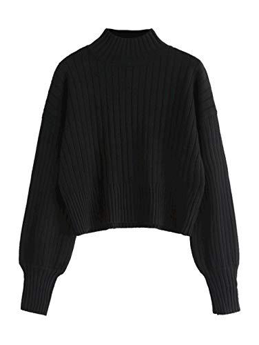Neck Mock Sweater Womens (ZAFUL Women Drop Shoulder Mock Neck Pullover Sweater Long Sleeve Basic Crop Sweater(Black))