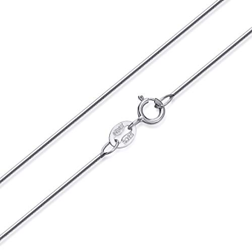 SWOPAN 925 Sterling Silver 0.8MM Snake Chain Necklace for Women Girls Sterling Silver Italian Crafted Necklace with Platinum Plated Nickel Free Jewelry,Sterling-Silver,Snake Chain,0.8mm Wide,18Inches