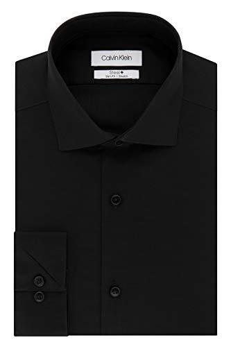 Calvin Klein Men's Dress Shirt Slim Fit Non Iron Stretch Solid, Jet Black, 15