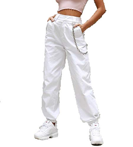 RUEWEY Women High Waist Hip Hop Dance Tapered Cargo Jogger Pants Trousers with Chain Harem Baggy Jogging Sweatpants (M, White) (White Cargo Pants)