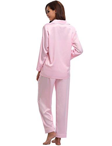 Stagioni Pink Sleepwear Tutte A Camicia Donna Pigiama Le Pigiama Aibrou Per Notte Da Maniche Lunghe OU6wq6xap