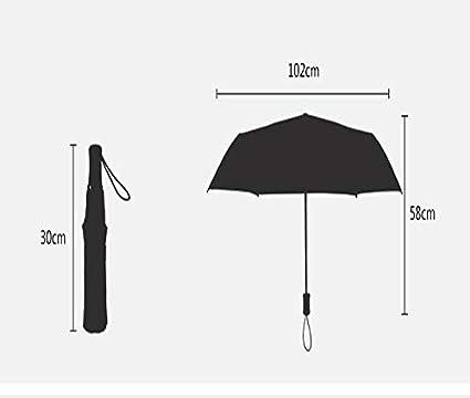 Paraguas, Paraguas automático de Triple Refuerzo Cortaviento irrompible de Viaje Compacto Ligero y pequeño de