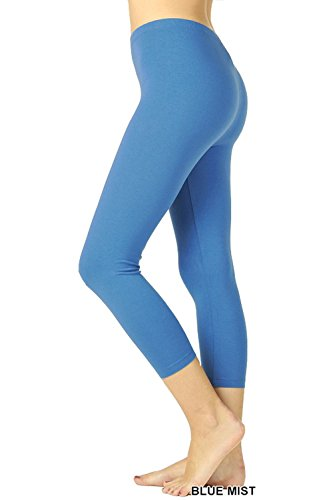UNU Style Premium Ultra Soft Cotton 15 inch Capri & Regular Capri Leggings (R-Blue Mist, (Blue Mist Apparel)