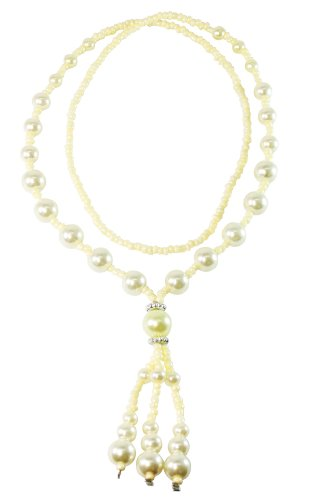 Bijoux De Ja Cream-colored Synthetic Pearl Tassel Dangling Pendant Strand Necklace 26