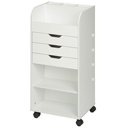 "Honey-Can-Do CRT-06345 Rolling Craft Storage Cart with 3-Drawers, White, 15.91"" x 33.62"" from Honey-Can-Do"
