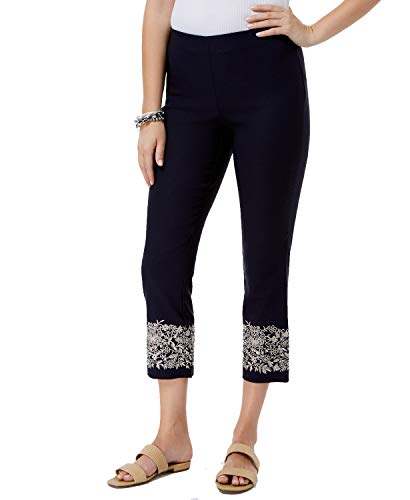 (Charter Club Womens Embroidered Skinny Capri Pants Navy 18)