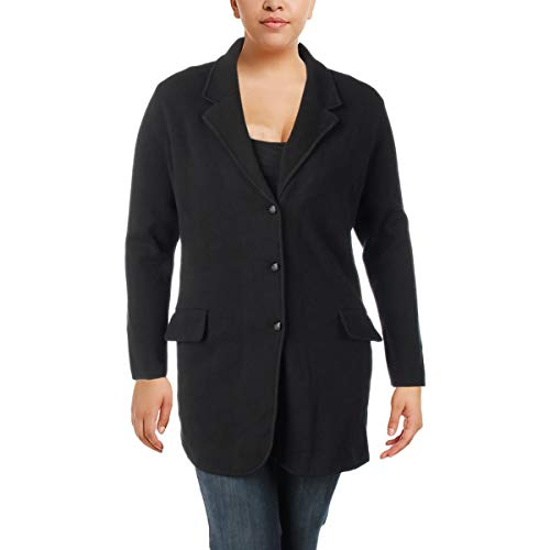 Lauren Cashmere Cardigan - LAUREN RALPH LAUREN Womens Plus Notch Collar Blazer Cardigan Sweater Black 1X