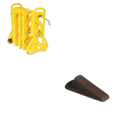 KITMAS00920RCP9S1100YEL - Value Kit - Master Mfg 00920 Big Foot Doorstop, Brown (MAS00920) and Rubbermaid Portable Mobile Safety Barrier (RCP9S1100YEL) by Master Caster
