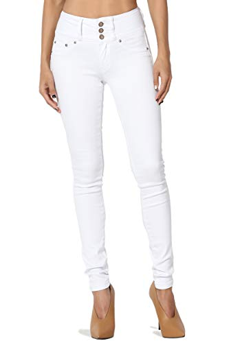 TheMogan Women's Hip Up High Rise Wide Waistband Soft Skinny Jeans White 5