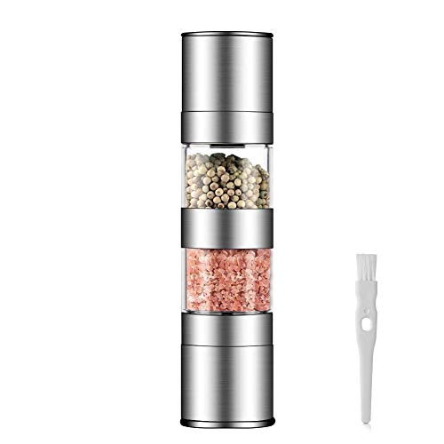 2 in 1 Salt and Pepper Grinder Set,Stainless Steel Salt Grinder with Adjustable Ceramic Rotor, Salt Mill and Pepper Mill Shaker,Dual Mill Spice Jar with Brush -by HAUEA (Stainless Steel) (2 In 1 Salt & Pepper Grinder)