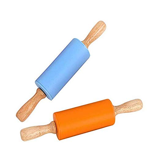 Mini Rolling Pin, 2 Pack Kids Size Wooden Handle Rolling Pin Non-Stick Silicone Rolling Pins for Home Kitchen Children Cake 9 Inch by Koogel