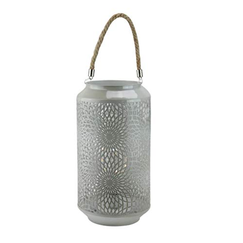 "Gerson 11.75"" Gray Metal LED Indoor/Outdoor Lantern with Rope Handle"