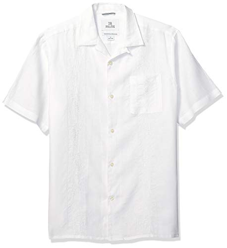 28 Palms Men's Relaxed-Fit Short-Sleeve 100% Linen Embroidered Guayabera Shirt, White, - Mens Plain Linen Shirt