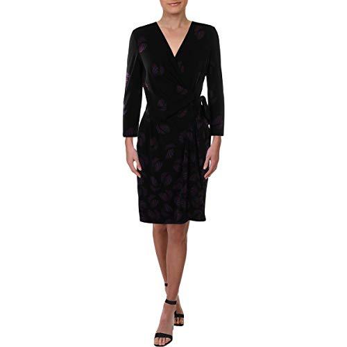 Anne Klein Women's Classic V-Neck Faux WRAP Dress, Anne Black/Gauguin Combo, S from Anne Klein