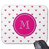 Mexican Pink Glitter Hearts with Monogram Mouse Pad - Monogram Cuore
