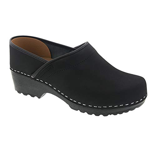 (Bjork Karin Swedish Women's Pro Oiled Leather Clogs (EU-39, Black))
