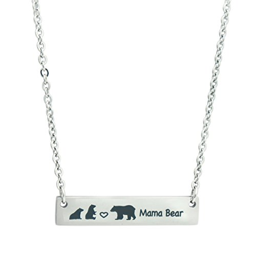 Steel Stainless Bear (Meibai Mama Bear & Baby Bear Necklace Stainless Steel Bar Pendant Mothers Day Gift for Mom Grandma (1 Mama Bear & 2 Baby Bears))