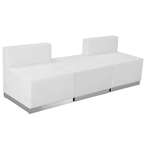- Flash Furniture HERCULES Alon Series Melrose White Leather Reception Configuration, 3 Pieces