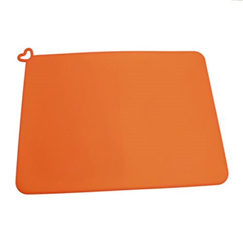 UNKE Silicone Pet Feeding Food Mat for Dog Cat Placemat Dish Bowl Non Slip 41.531cm,Orange (Cat Pet Mat Placemats)
