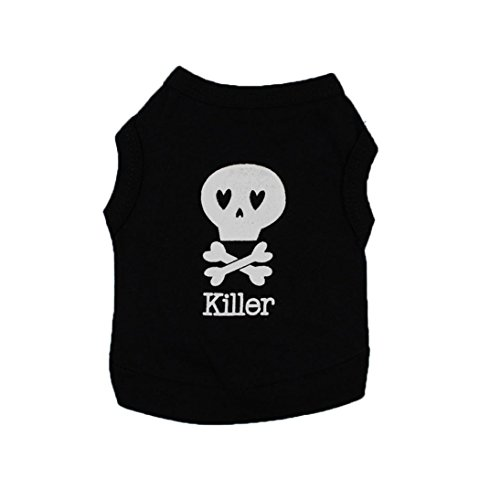 Hot Sale New Dog Cats Clothes Dog Clothing Cool Skull T-Shirt Puppy Killer Costume For Small Dog Summer T Shirt Print Sweatshirt for Pets Puppies Small Large Dogs 2018 (Skull Plaid Costumes)