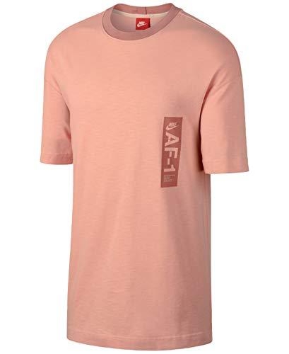Nike Mens Small Graphic Print Two Tone Ringer Tee T-Shirt Pink S