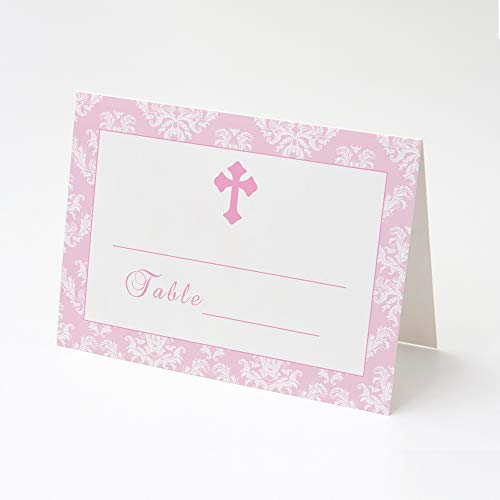 100 Girl Baptism Christening Party Place Cards Floral Pink Damask