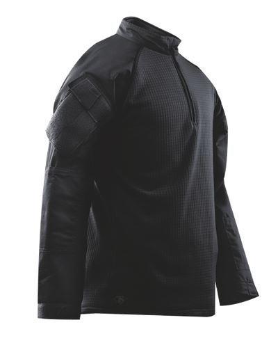 TRU-SPEC Combat Shirt, Cold Weather blk P/C R/S 1/4 Zip, Black, Large/Large