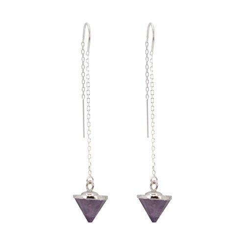Gemstone Spike Threader Earrings in Sterling Silver, #6454-ss (amethyst) (Amethyst Threader Earrings)