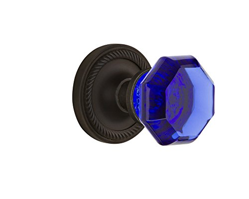 (Nostalgic Warehouse 725028 Rope Rosette Privacy Waldorf Cobalt Door Knob in Oil-Rubbed Bronze, 2.75 )