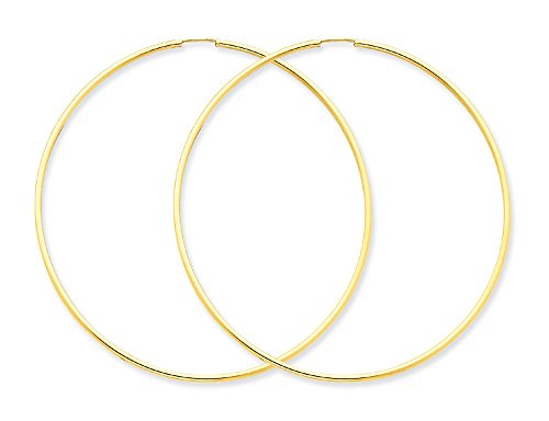 Extra Large Hoop Earrings in 14K Yellow Gold 2 1/2 Inch (1.50 mm) from Gem And Harmony