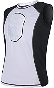 TUOY Padded Sleeveless Shirt Chest Sternum Protector Heart Guard Compression Protective Shirt for Football Bas