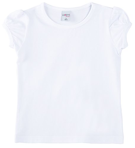 Lovetti Girls' Basic Short Puff Sleeve Round Neck T-Shirt 2T White ()