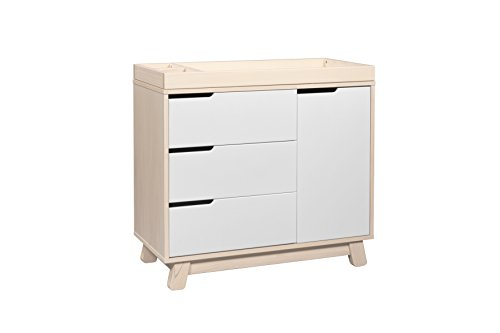 Babyletto Hudson 3-Drawer Changer Dresser with Removable Changing Tray, Washed Natural / White - Natural Changing Table