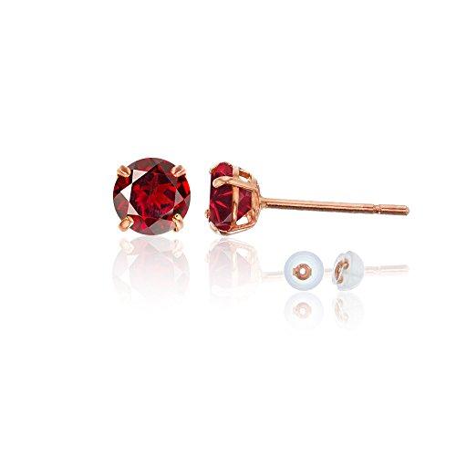 14K Rose Gold 4mm Round Garnet Stud Earring