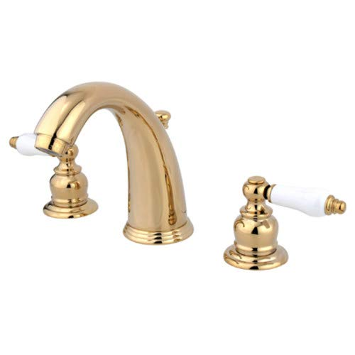 Kingston Brass KB982PL Victorian 8-Inch Widespread Lavatory Faucet with Retail Pop-Up Polished Brass